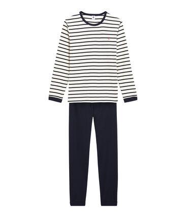 Boys' Ribbed Pyjamas Marshmallow white / Smoking blue