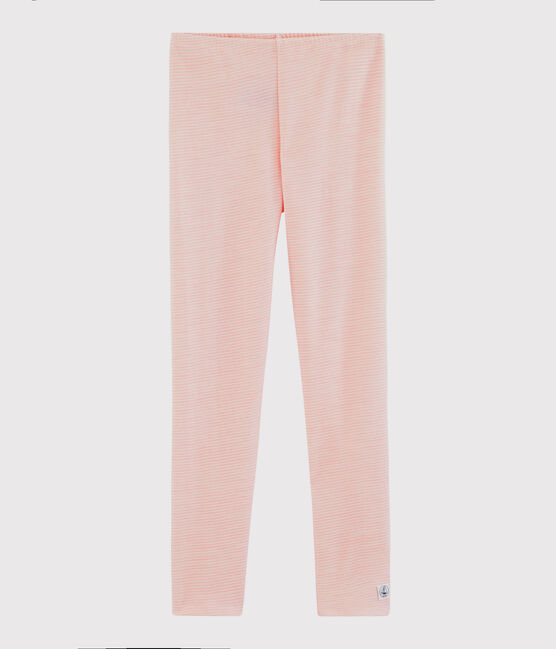 Girls' Pinstriped Wool and Cotton Leggings Charme pink / Marshmallow white