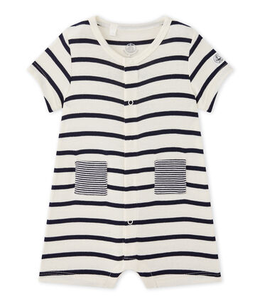 Baby boy striped short all-in-one