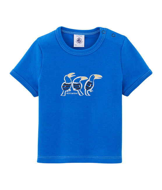 Baby boys' plain T-shirt Delft blue