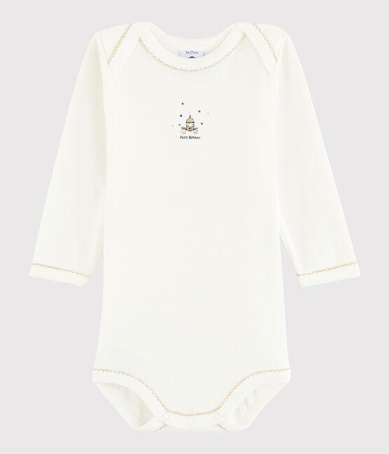 Baby Girls' Long-Sleeved Bodysuit Lait white