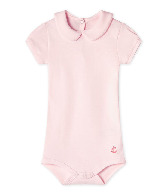 Baby girls' bodysuit with collar Vienne pink