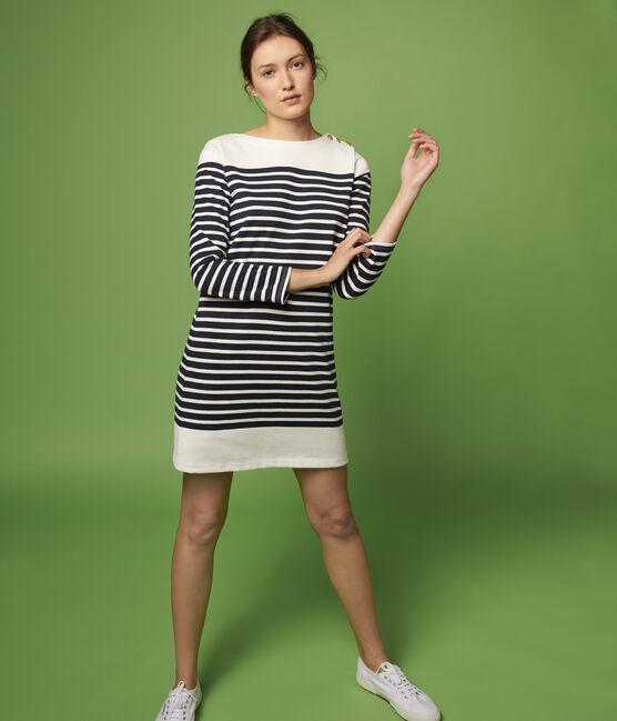 Women's Breton Striped Dress Smoking blue / Marshmallow white
