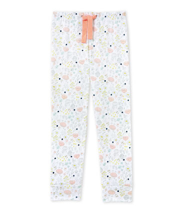 Girls' coordinating pyjama trousers Ecume white / Rose pink