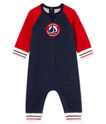 Baby Boys' Long Fleece Jumpsuit Smoking blue / Terkuit red