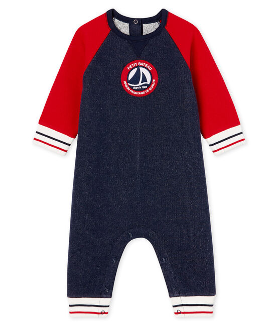 Baby Boys' Long Fleece Jumpsuit Smoking blue / Terkuit red