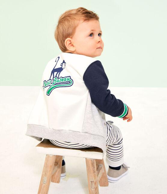 Baby Boys' Fleece Cardigan Beluga grey / Multico white