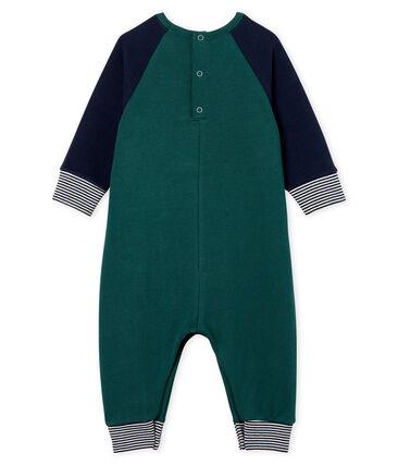 Baby Boys' Long Fleece Jumpsuit Sousbois green / Smoking blue