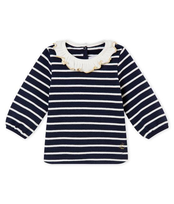 Baby girls' sailor top Smoking blue / Marshmallow white