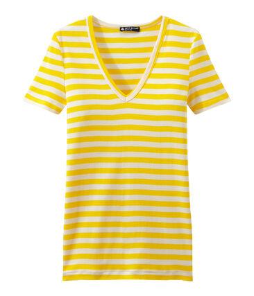 Women's striped original rib V-neck T-shirt Shine yellow / Marshmallow white