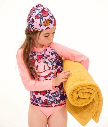 Girls' Two-Piece UPF 50+ Swimsuit Tiger orange / Multico white