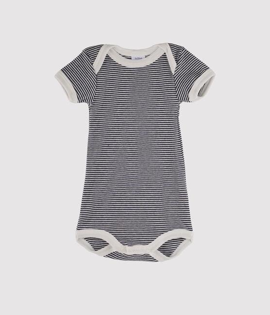 Baby Girls' Short-Sleeved Bodysuit Smoking blue / Lait white