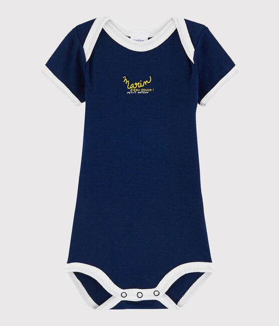 Baby Boys' Short-Sleeved Bodysuit Medieval blue
