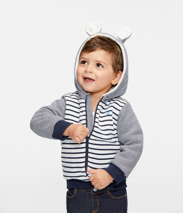 Baby Boys' Sailor Striped Hoody with Sherpa Lining Marshmallow white / Smoking blue