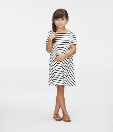 Girls' Dress Coquille beige / Abysse blue