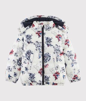 Girls' puffer jacket Coquille beige / Multico white