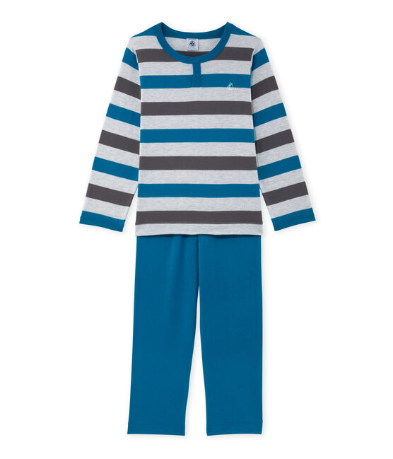 Boys' pyjamas in striped jersey Poussiere grey / Maki grey