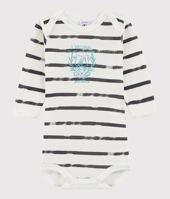 Baby Boys' Long-Sleeved Bodysuit Lait white / Maki grey