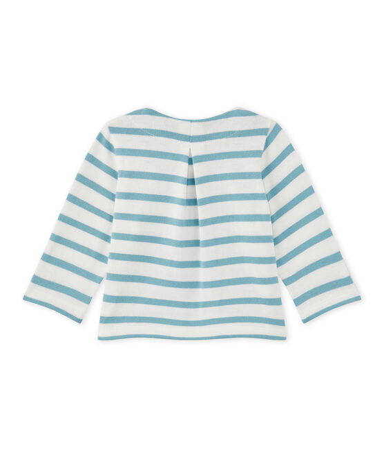 Baby girl's striped cardigan Marshmallow white / Mimi blue