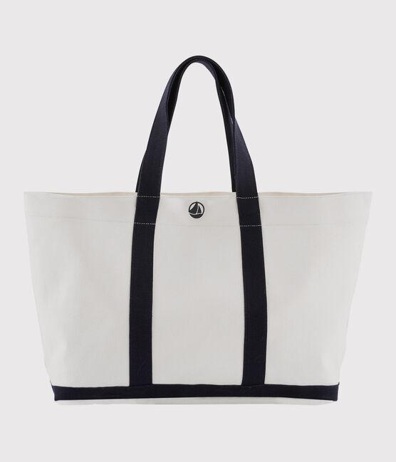 Tote bag Marshmallow white / Smoking blue