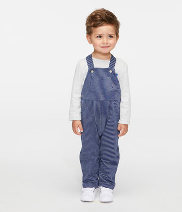 Baby Boys' Striped Knit Long Dungarees Smoking blue / Marshmallow white