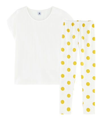 Girls' Ribbed Pyjamas Marshmallow white / Ble yellow