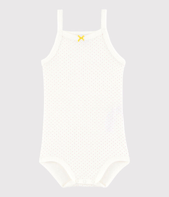 Baby Girls' Strappy Bodysuit Marshmallow white / Charme pink