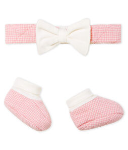 Baby Girls' Tube Knit Headband and Bootees Set