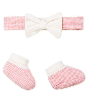 Baby Girls' Tube Knit Headband and Bootees Set . set