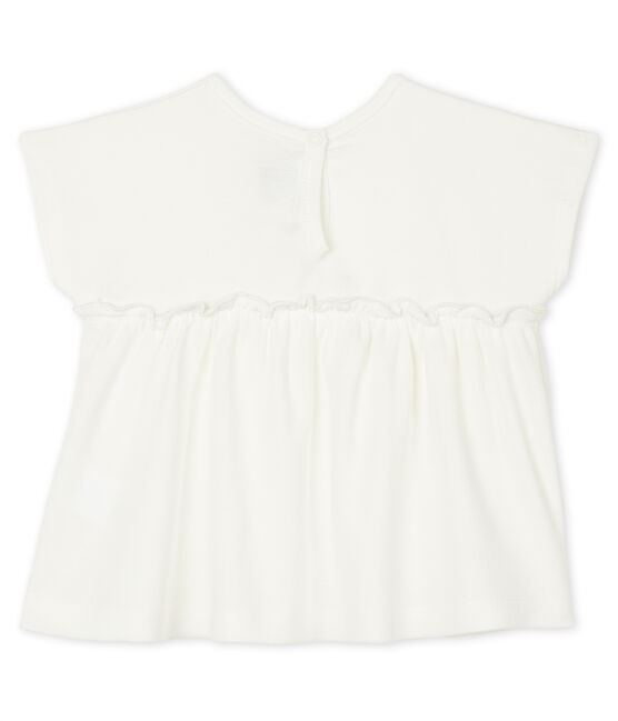 Baby Girls' Short-Sleeved Plain Blouse Marshmallow white