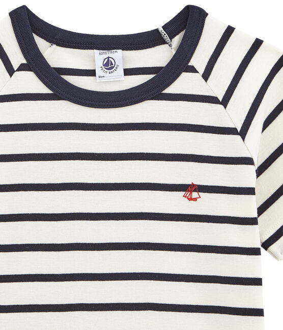 Boys' Ribbed Short Pyjamas with Sailor Stripes Marshmallow white / Smoking blue
