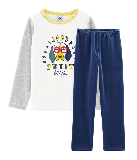 Boys' Velour Pyjamas Medieval blue / Poussiere grey