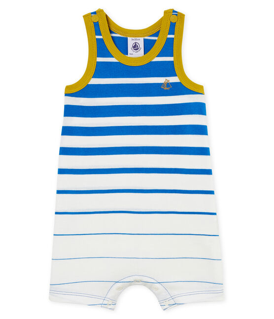 Baby boys' light jersey shortie with striped section Riyadh blue / Marshmallow Cn white