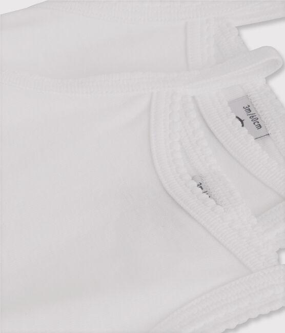 Set of 2 baby girls' bodysuits with white straps . set