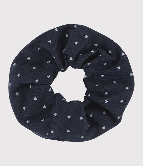 Girls' elasticated scrunchie Smoking blue / Multico white