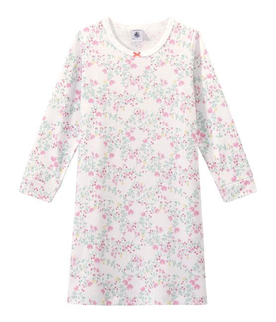 Chemise de nuit fille manches longues imprimée Ecume white / Multico white