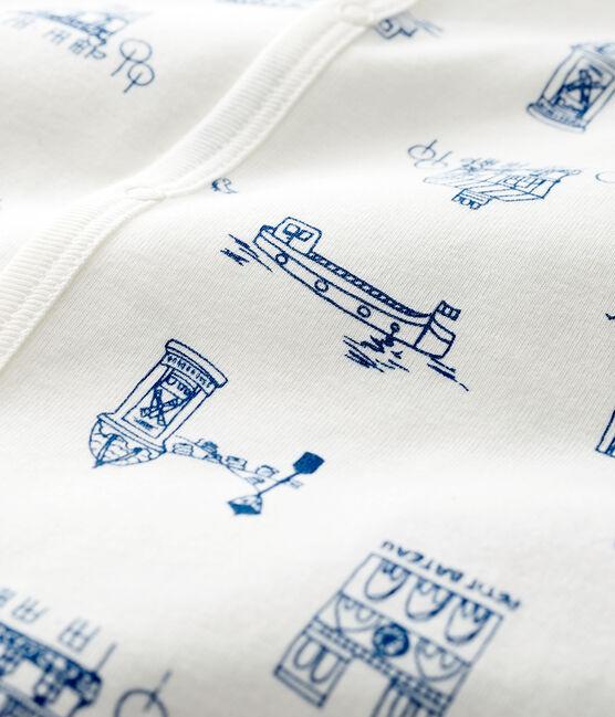 Babies' Footless Ribbed Paris Sleepsuit Marshmallow white / Major blue