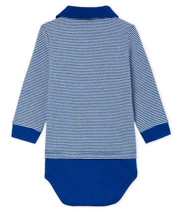 Baby Boys' Pinstriped Polo Shirt Bodysuit Limoges blue / Marshmallow white