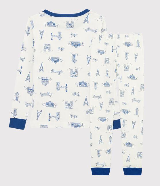 Children's Paris Print Snugfit Ribbed Pyjamas Marshmallow white / Multico white