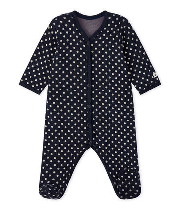 Baby girl's sleepsuit in terrycloth bouclette with polka dots