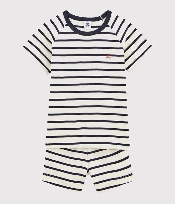 Children's Ribbed Short Pyjamas with Sailor Stripes Marshmallow white / Smoking blue