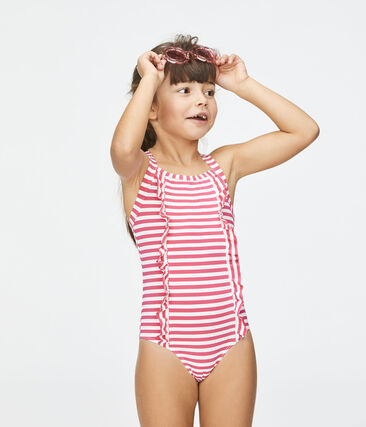 Girls' Sunproof Swimsuit Geisha pink / Marshmallow white