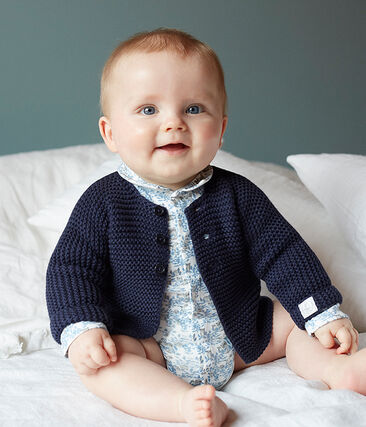 Newborn Baby Boys' Long-Sleeved Ribbed Bodysuit Marshmallow white / Toudou blue
