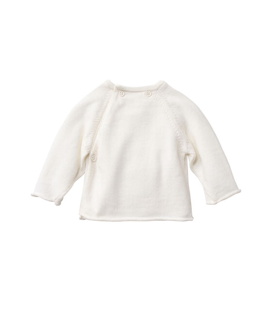 Baby top in wool and cotton Lait white