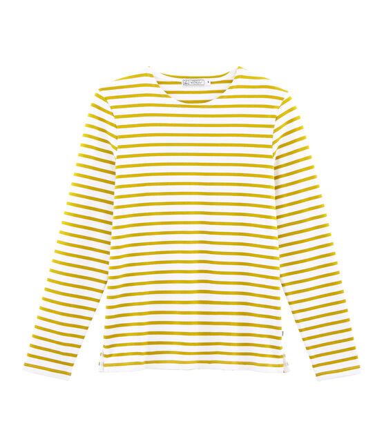 Men's iconic stripy breton top Marshmallow white / Bamboo yellow