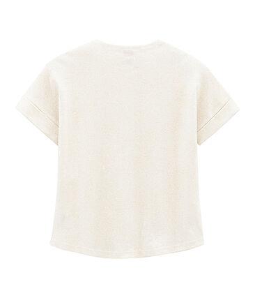 Girls' Short-sleeved T-shirt Marshmallow white / Copper pink