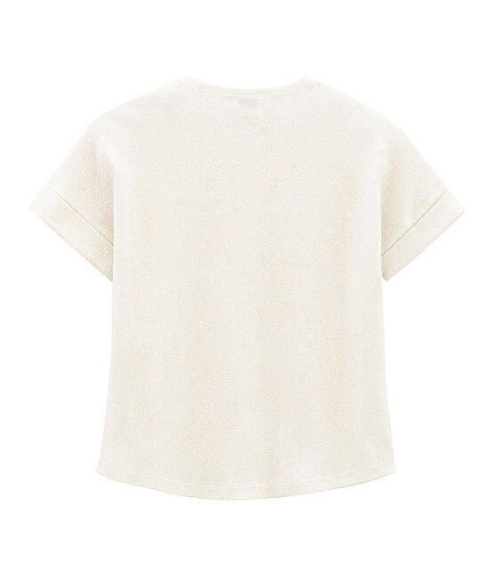 Girls' Short-sleeved T-shirt Marshmallow white / Copper pink