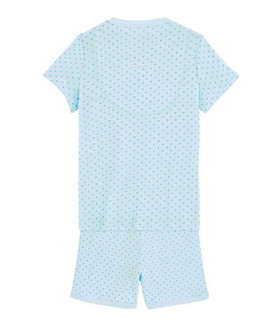 Girls' Ribbed Short Pyjamas Amandier green / Esperanza Brillant green