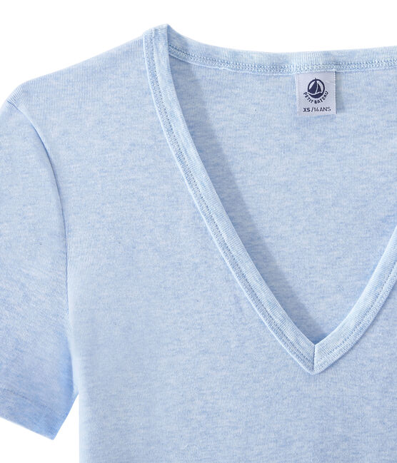Women's original rib V-neck T-shirt Cumulus Chine blue