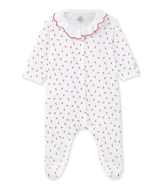 Baby girls' printed pyjamas Ecume white / Peps red